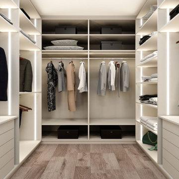 Small walk-in wardrobe in pearl light grey matt supplied by Inspired Elements