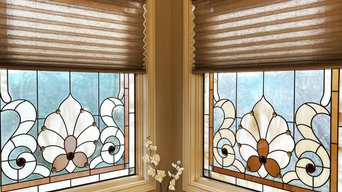Pleated Shades on stained glass