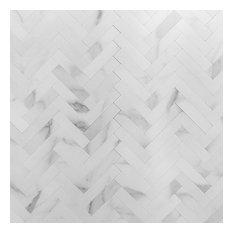 "Luxe Core Herringbone Calacatta 10.31"" x 10.31"" SPC Peel and Stick Tile"