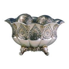 """7"""" Traditional Royal Silver and Gold Metallic Decorative Bowl With Spheres"""