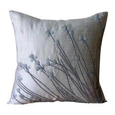 "Light Grey Pillow Covers 20""x20"" Throw Pillow Cover, Silk, Soft Gray Shells"