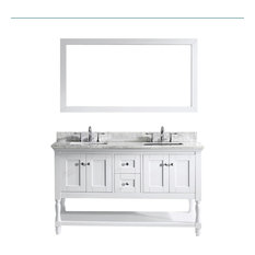 "Virtu Julianna 60"" Double Bathroom Vanity, White With Marble Top, With Mirror"