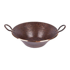 Round Hand Forged Old World Miners Pan Copper Vessel Sink