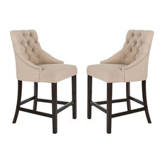Eleni Tufted Counter Stool in Beige and Espresso - Set of 2