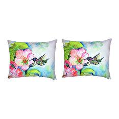 Pair of Betsy Drake Hummingbird & Hibiscus No Cord Pillows 16 Inch X 20 Inch