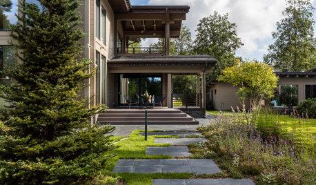 Houzz  тур: Загородный дом с чёрным мрамором и огромными окнами