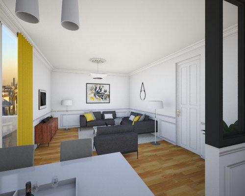 Cuisine ouverte sur salon inspiration haussmannien for Simulation 3d salon