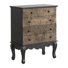 Spruce Wood Carved 5-Drawer Chest