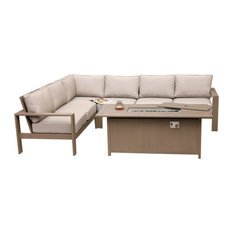 """Finley 5-Piece Sectional Set, 3,x61"""" Chat High Gas Firepit Table"""