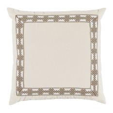 Velvet Square Pillow With Amalfi Tape, Fleece