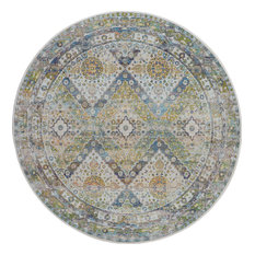 Nourison Global Vintage Blue and Green Farmhouse Area Rug, 6'x6' Round