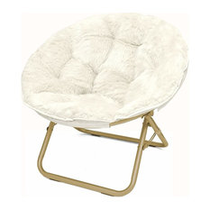 Faux Fur Saucer Chair Metal Frame Opens-Folds in Seconds for Easy Storage, White