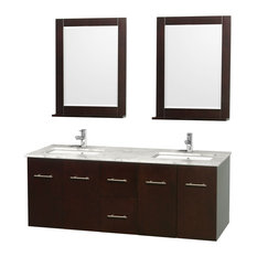 "Centra 60"" Double Vanity Square Sink 24"" Mirror Espresso White Carrera Marble"