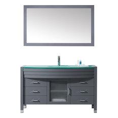 "Ava 55"" Single Vanity Cabinet Set, Polished Chrome, Tempered Glass, Aqua Round"