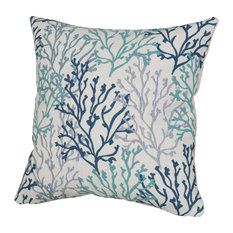 "Coral Isle Pillows, Blue/Gray, 24""x24"""
