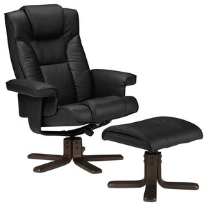 Modern Recliner With Footstool, Faux Leather With Walnut Finished Base, Black