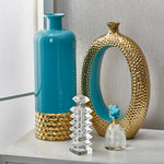 Sagebrook Home - Vase, Ceramic, Turquoise/Gold - Sagebrook Home has been formed from a love of design, a commitment to service and a dedication to quality. We create and import fashion forward items in the most popular design styles.