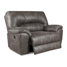Beaumont Faux Leather Oversized Recliner, Gray, Manual by Oliver Pierce