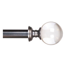 "Curtain Rods and Hardware Crystal Ball Rods 48""-86"", Pewter by Lavish Home"