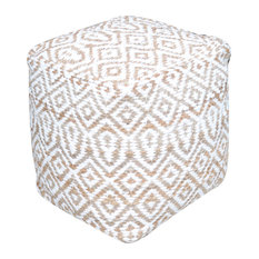GDFStudio - Bangla Artisan Fabric Cube Pouf, Ivory - Floor Pillows and Poufs