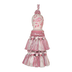 Tassel Pink Toile Pair Carved Wooden Head Polyrayon Wood Hand-Painted
