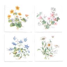 Flower Herb Ceramic Tile, 4-Piece Set