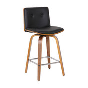 """Summer 26"""" Counter Height Bar Stool, Walnut And Black Faux Leather"""