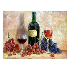 Tile Mural, Wine And Grapes by Theresa Kasun