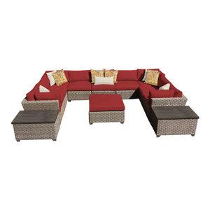 Monterey 12 Piece Outdoor Wicker Patio Furniture Set, Terracotta By  TKClassics