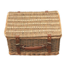 Double Steamed Green Willow Empty Picnic Basket, 45 cm