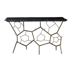 51-inch W Console Table Solid Slate Stone Honey Comb Style Iron Base Brass Finish
