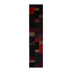 Kelim Abstract Chequer Handwoven Runner, Multicoloured, 80x360 cm
