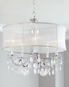 organza silk drum shade crystal chandelier  traditional  dining, Lighting ideas