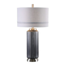 Textured Charcoal Gray Glass Table Lamp, Cylinder Striped Shade