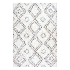 nuLOOM - Beyazit Machine-Made Shag Rug, White, 8'x10' - Area Rugs