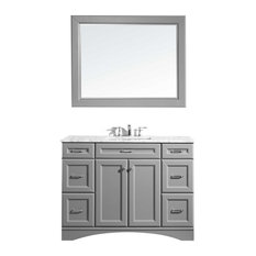 Naples 48-inch Vanity Gray With Carrara White Marble Countertop With Mirror