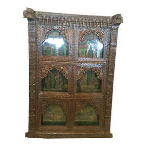 Mogulinterior - Consigned Indian Arched Mirror Frame Jharokha Wall Decor - Wall Sculptures
