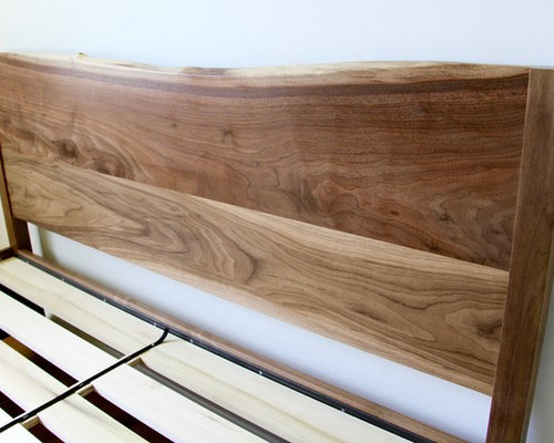 Custom Walnut Bed with Live-Edge Headboard and Under-bed Storage Drawers -  Products - Live Edge Headboard Holiday Design