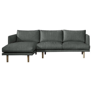 Ottilie Chaise Sofa, Pewter, 3 Seater, Left Hand Facing