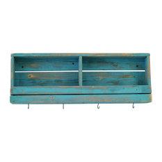 Rustic Slated Wall Shelf, Turquoise