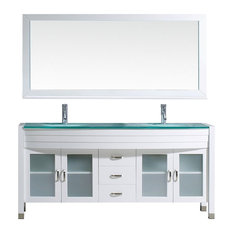 "Ava 71"" Double Bathroom Vanity Set, White, Glass Top, Integrated Basin"