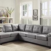 Chino Faux Leather Sectional, Gray