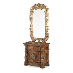 AICO Villa Valencia Bedside Chest Nightstand With Mirror