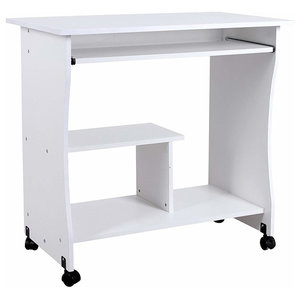 Modern Movable Desk, Particle Board With Sliding Keyboard and Shelf, White
