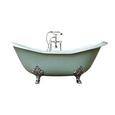 Green-Blue 6' Antique-Style Cast Iron Double Slipper Clawfoot Bathtub