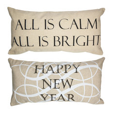 Silent Night/Happy New Year Holiday Double Sided Pillow