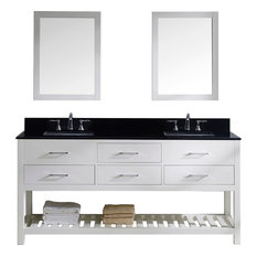 """Caroline Estate 72"""" Double Vanity, White, Without Faucet, Square, Double Mirror"""