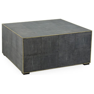 Marguerite Modern Classic Antique Grey Leather Square Coffee Table