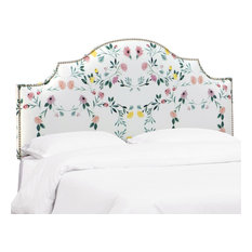 Brenson Nail Button Notched Headboard In Kaleidoscope Floral Blush Twin