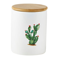 KJ Collection Cactus Storage Pot, Red Flowers